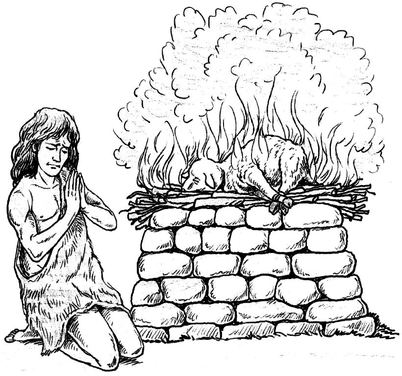 Awesome Abraham As God With Jesus Lamb Of Coloring Page
